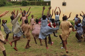African playing children