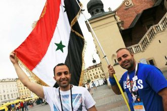 Al and Yousef Astfan, brothers from Syria in Krakow at World Youth Day 2016. Credit: Kate Veik/CNA
